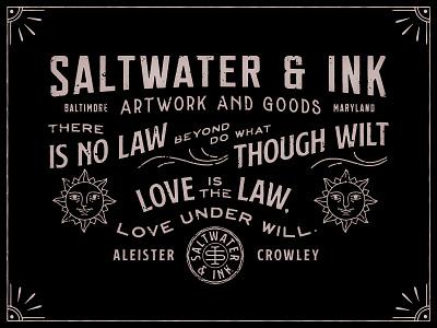 Saltwater & Ink vector distressed type badge typography lock up branding illustration logo design