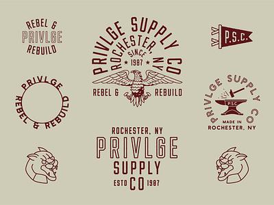 PRIVLGE apparel design vector distressed branding typography lock up logo illustration design
