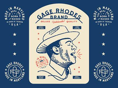 Gage Rhodes Shirt Design apparel design vector distressed typography lock up illustration design