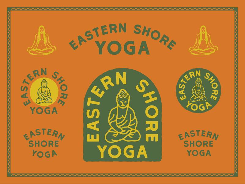 Eastern Shore Yoga minimal banner badge type apparel design vector branding distressed typography logo lock up illustration design
