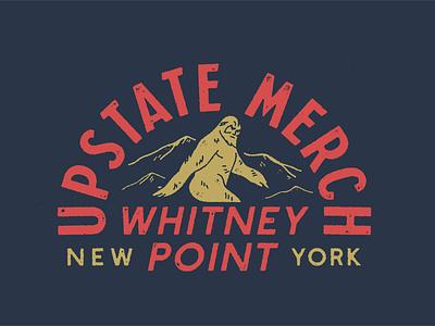 Upstate Merch 'Squatch apparel design vector distressed lock up illustration design
