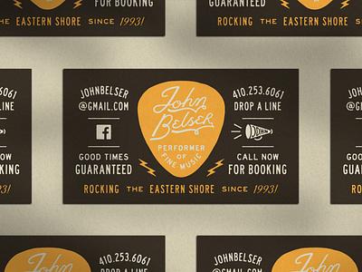 John Belser Business Card musician business card badge type vector typography logo distressed lock up illustration design