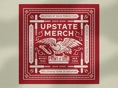 Upstate Merch Bandana bandana apparel design type vector typography lock up distressed illustration design