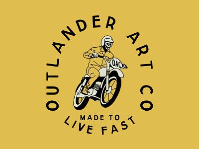Outlander Art Co Skeleton Rider apparel design vector lock up distressed illustration design