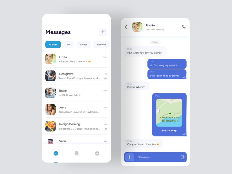 Telegram messenger redesign ui design blue ios android app uiux chat social messenger telegram clean white design app android