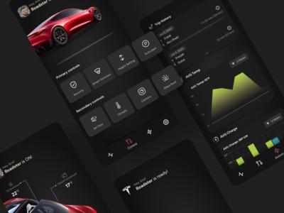 Tesla management app design ios electric car car tesla application dark ui design ux ui design app android