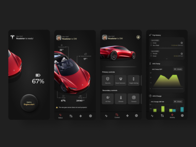 Tesla management app design android app tesla car application dark ui design ux ui design app android