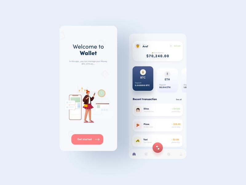 Wallet App Concept Design transfer bank wallet pink illustration ios application ui design app ux ui design