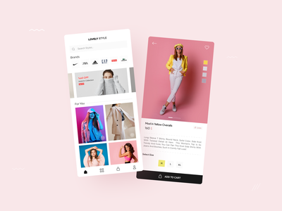 Lovely Style / eCommerce Store App Design product page adidas nike womans style cloth shopping e-commerce eshop ecommerce logo branding yellow application ui design app ux ui android design