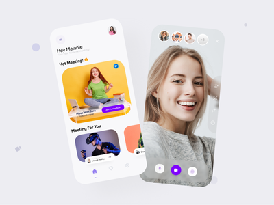 Online Meeting App creative video call webinar social hot chat online meeting online blue yellow application ui design app android ux ui design