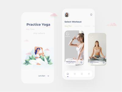 🧘‍♀️ Yoga App UI practice meditation sport workout mobile concept yoga yoga app illustration application ui design app android ux ui design