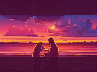calm-Spend time with dog in the evening vector illustration cartoon evening sunset dog and girl calm design