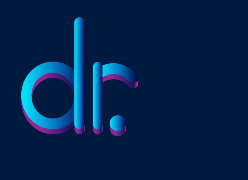 dr. logo photoshop design illustrator ux typography art gradient logo blue dr logodesign