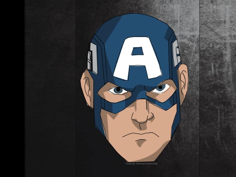 illustrator design captain america cartoon illustration art comic design potrait black background blue and yellow captainamerica comic illustrator