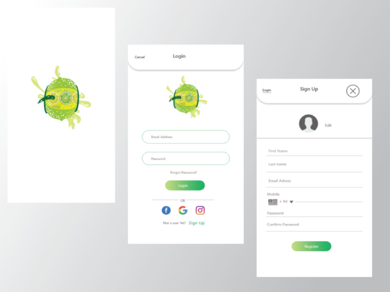 Food Delivey app Signin Page gradient button login page welcome page design ui uiux food app android ios mobile app signup
