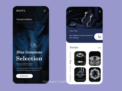 The app design for jewellery Product mobile design bluetheme jewellery appdesign mobile ui
