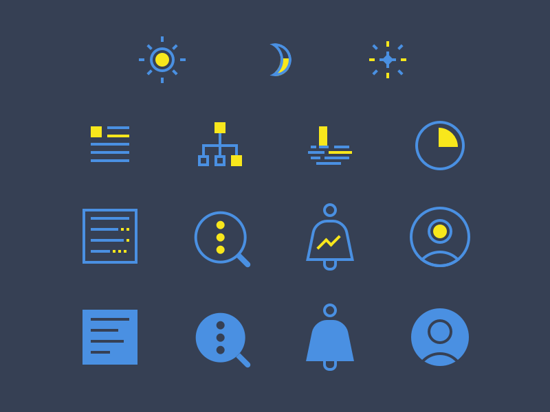 Night Mode Icon Set ui tool flat night icon