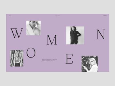 Women 🟣 color minimal homepage interface website web ui typography design