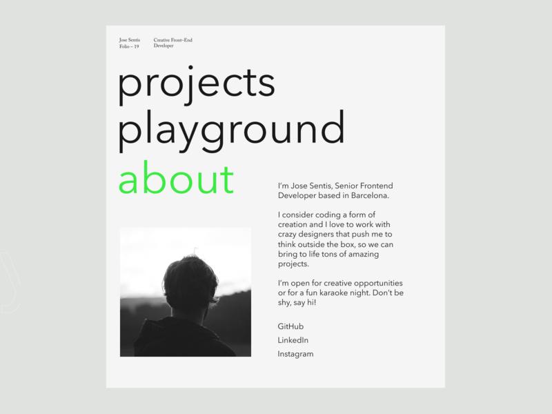 Jose sentis — 02 portfolio minimal interface website web ui typography design