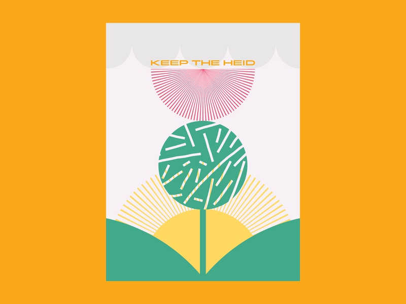 Keep the Heid poster art thistle scottish scotland designer illustration vector art drawing vector design charlotte nc poster
