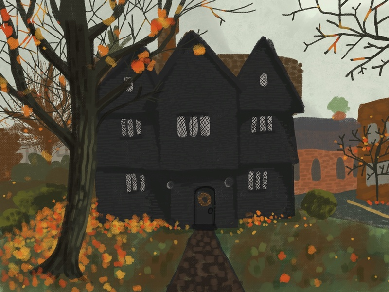 Which House? Witch House october halloween party sketch painting procreate witchy witch drawing design halloween design illustration halloween salem