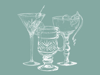 The Bowery Cocktail Illustrations