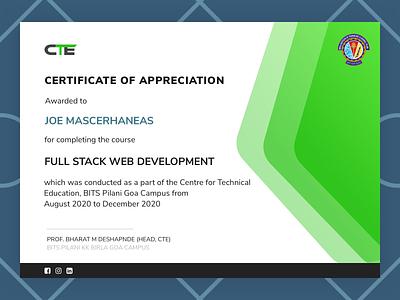 Digital Course Certificate print vector certificate