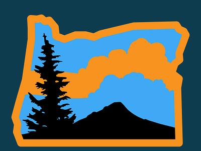 Oregon flat icon design logo illustration