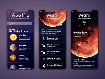 Apo11o - Space Discovery UI minimal design web apollo discover space app ui ux