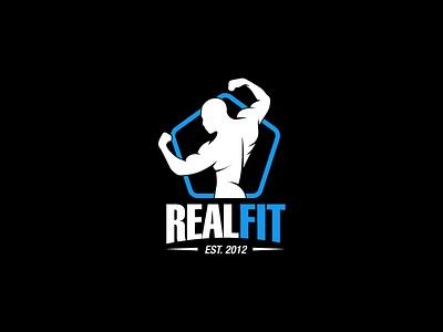 Realfit kettlebell fitness powerlifting man fit bodyfit bodybuilding strongman power gym logo