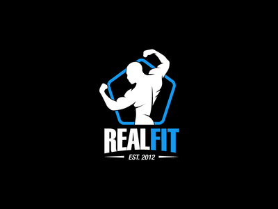 Realfit kettlebell fitness powerlifting man fit bodyfit bodybuilding strongman power gym logo