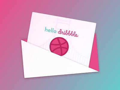 Hello Dribbble! gradient envelope invite debut
