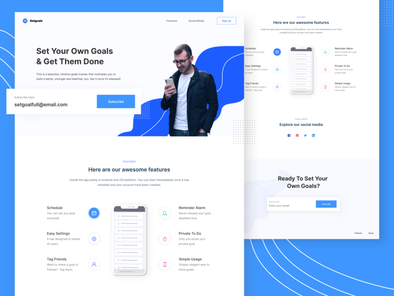 Landing Page - SetYourGoal one page features sign up blue website uidesign clean hero web ux comingsoon firstshot debut uiux ui landing page ui landing page design subscription subscribe landingpage