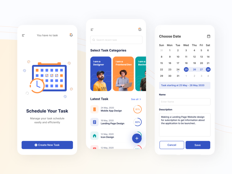 Mobile Exploration - Task Management App android mobile design search uxdesign screen ios portfolio schedule uidesign mobile task management task app clean ux ui app