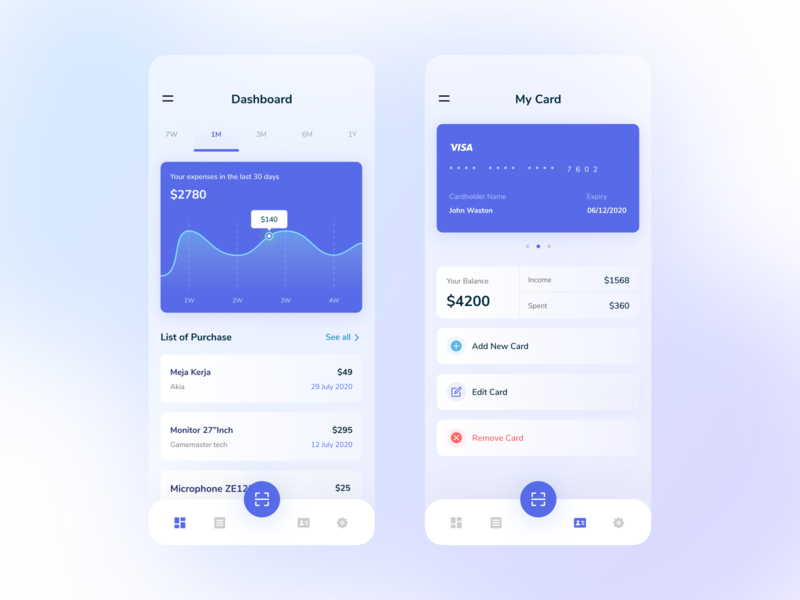 Mobile Exploration - Expense Manager application ux ui statistics management scan money ios uidesign uiux mobile ui mobile dashboard clean cards blur app