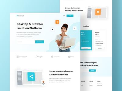Browsingan - Landing Page portfolio uiux pricing web browser vpn interface web design ui ux landing page header ui design minimal clean layout design desktop website landing