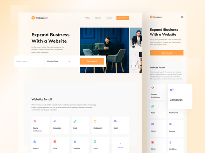 Normaland - Webagency Landing Page responsive hero product features landing page ui uidesign search uiux business ui ux webdesign design landingpage landing page website web testimonials card clean