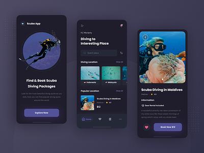 Scuba Diving App ios mobile app book app dark theme dark mode dark ui uidesign uiux ux diving app scuba app diving scuba diving design app mobile