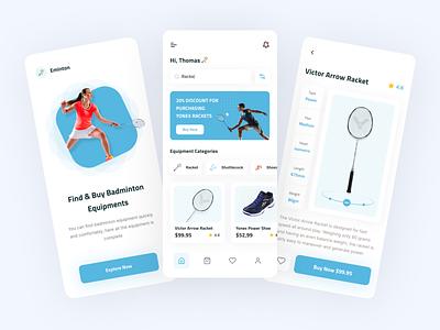 E-Commerce App - Eminton sport app sport ios uidesign racket equipment store app ux ui clean e-commerse store app uiux mobile app badminton blue mobile design