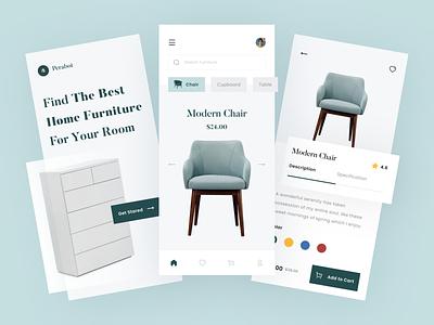 Perabot App 🏠 - Ecommerce uidesign design app ios mobile ux ui property interior store shop ecommerce product design furniture app minimalist clean chair