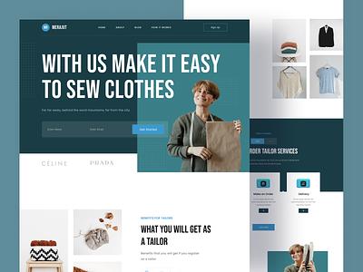 Merajut Landing Page web design fashion clothes homepage tailor sew figma ux landing page landing website web design uiux uidesign clean ui