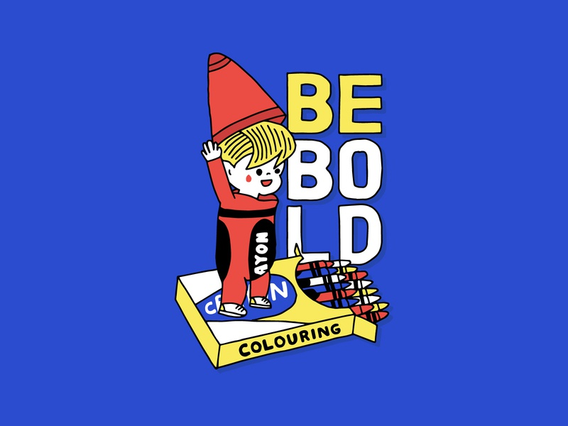 Be Bold retro cartoon vintage motivation be bold hand-drawn hand lettering illustration typography