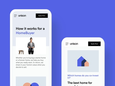 Mobile web How It Works pages responsive design mobile web uxui unison
