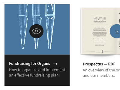 Client Work: View Publication and Resources book panel client organ pixel icon blue black tan arrow download view