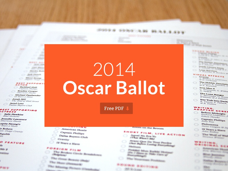 2014 Oscar Ballot — Free Download oscar ballot pdf free print academy awards movies film best picture