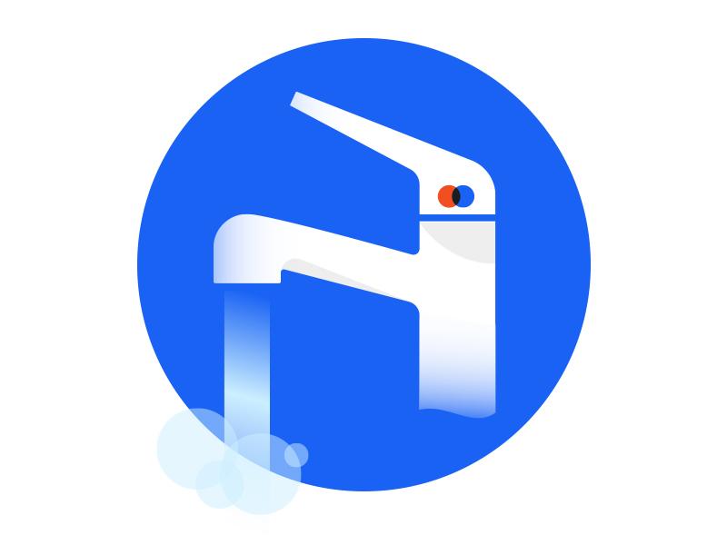 Faucet Illustration icon art deco faucet water illustration