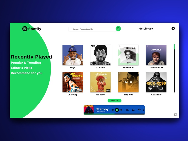 Spotify Redesign by Himanshu Singh on Dribbble