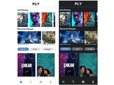 Dark Or Light ? Online Movies app ui