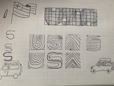 Doodling for another USA project logo lettering sketching lowfi drawing doodle usa