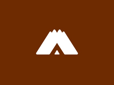 A is for Adventure negative branding logo teepee mountains adventure a logo negative space negativespace